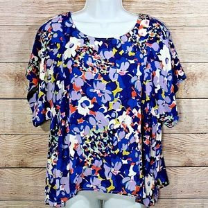 Maeve Floral Kimono Sleeve Bold Floral Blouse